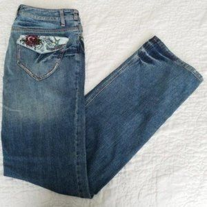 Oui Embroidered Distressed Straight Leg Jeans